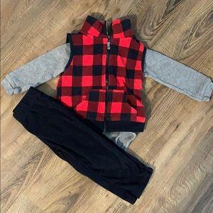 Carter's Plaid Fleece Vest Outfit